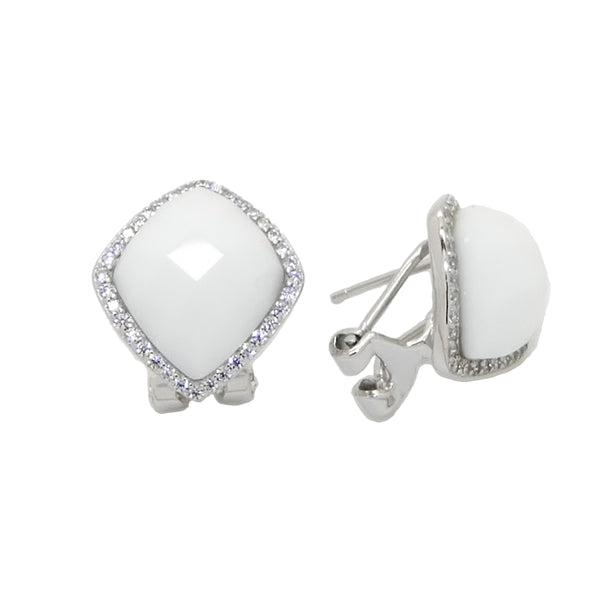 Faceted White Ceramic Earrings Set in Sterling Silver