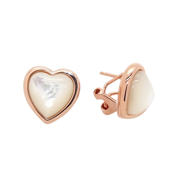 Mother of Pearl Earrings in Sterling Silver with Rose Gold Finish