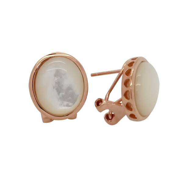 Oval Mother of Pearl Earrings in Sterling Silver with Rose Gold Finish