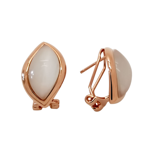 Elliptical White Agate Earrings in Sterling Silver with Rose Gold Finish