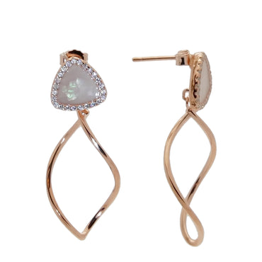 Mother of Pearl Dangle Earrings in Sterling Silver with Rose Gold Finish