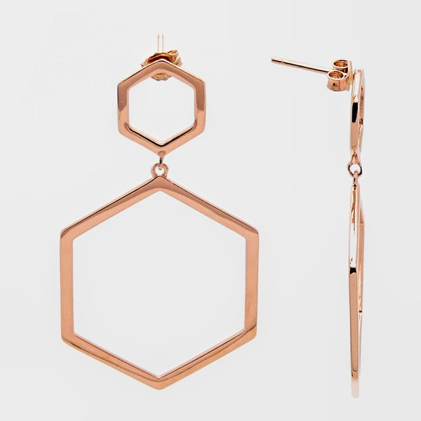 Octagonal Dangle Earrings in Sterling Silver with Rose Gold Finish