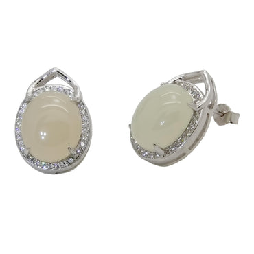 Oval Jade Earrings in Sterling Silver