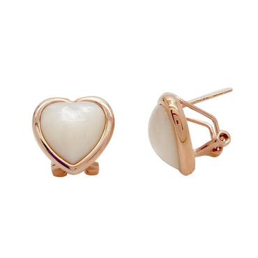 Heart Shaped Mother-of-Pearl Earrings in Sterling Silver with Rose Gold finish