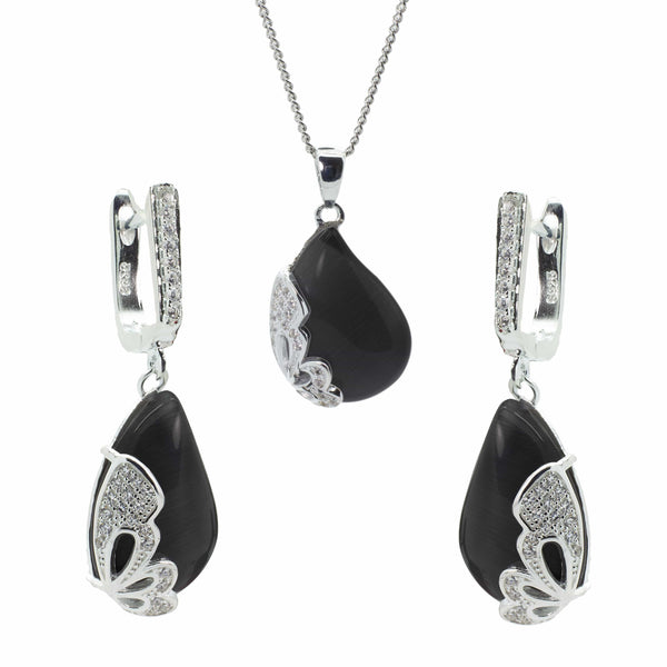 Butterfly Earring and Pendant Set in Sterling Silver