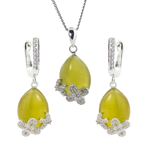 Earring and Pendant Set in Sterling Silver with Yellow Cat's Eye