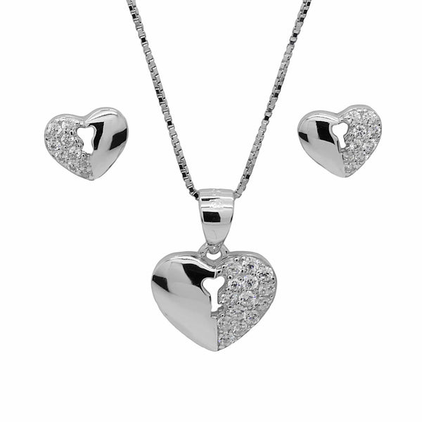 Heart and Key Pendant and Earrings Set in Sterling Silver