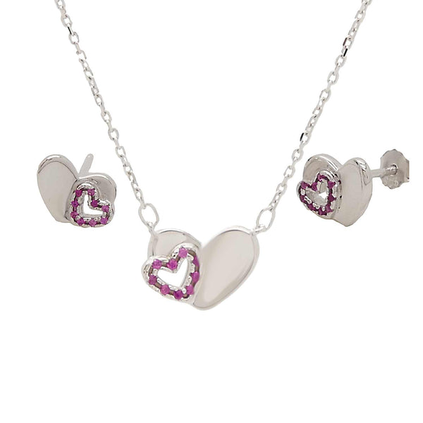 Heart Pendant and Earrings Set with Chain in Sterling Silver
