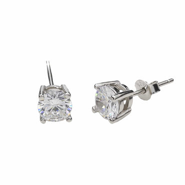 Round CZ Stud Earrings in Sterling Silver