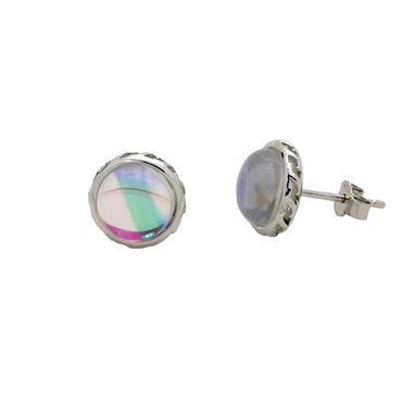 Circular Stud Earrings with Crystal in Sterling Silver