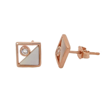 Mother of Pearl Stud Earrings in Sterling Silver with Rose Gold Finish