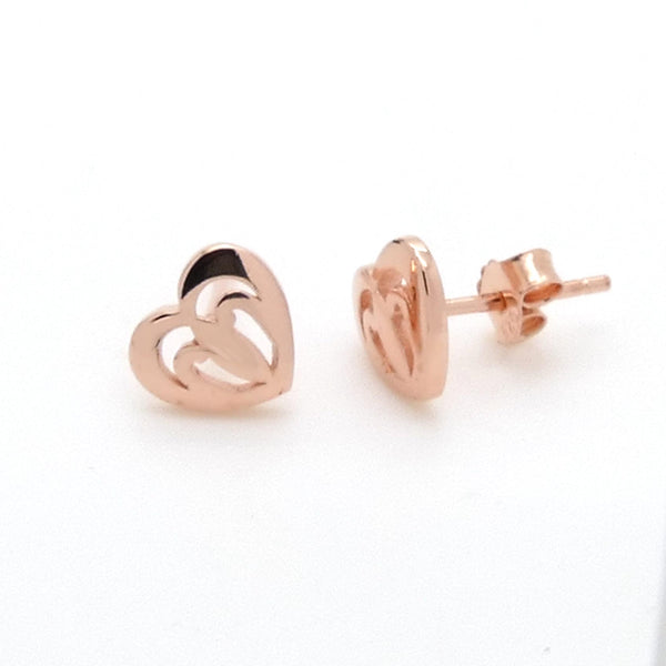 Heart Stud Earrings in Sterling Silver with Rose Gold Finish