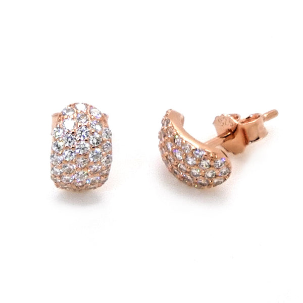 Pave-set Stud Earrings in Sterling Silver with Rose Gold Finish