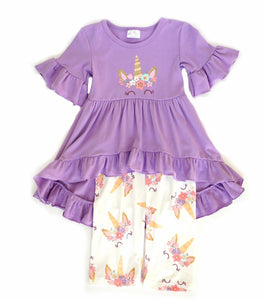 Purple unicorn 2pc short sleeve