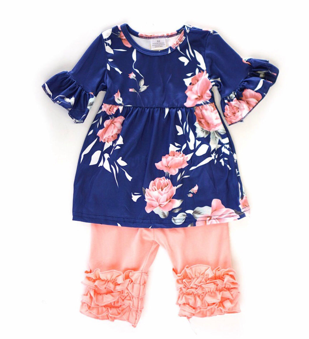 Floral Short Sleeve Set with Pink Shorts
