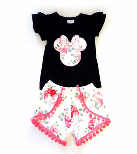 Minnie Mouse Angel Sleeve Floral short Set
