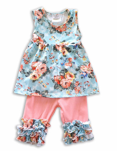 Blue Floral Tunic with Icing Capri set