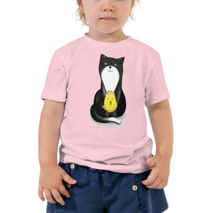 Sitting Kitty & Chick Toddler Short Sleeve Tee