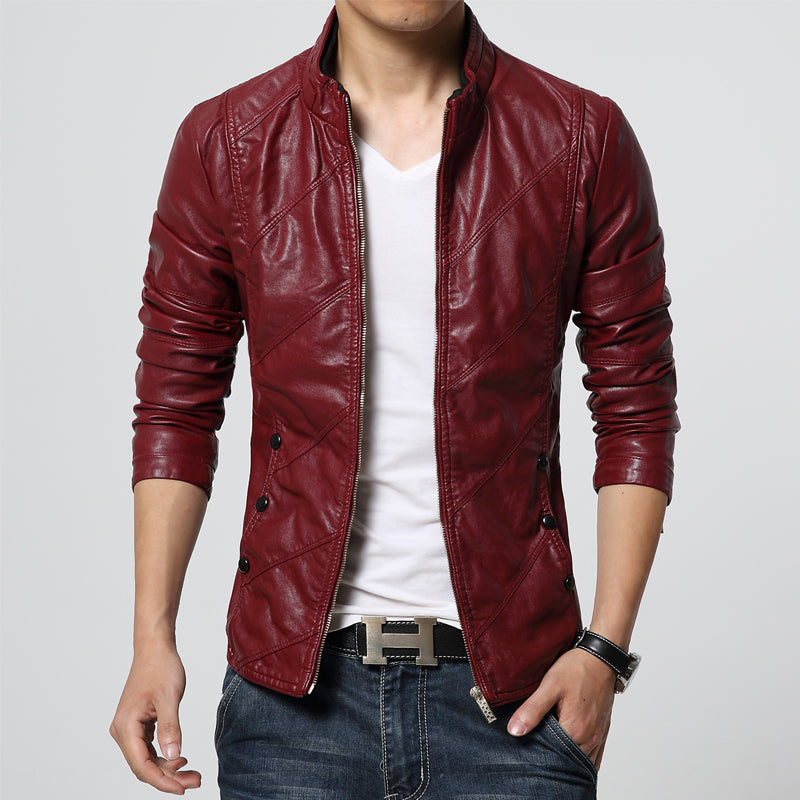spring & autumn men leather jacket - Bkinz Store