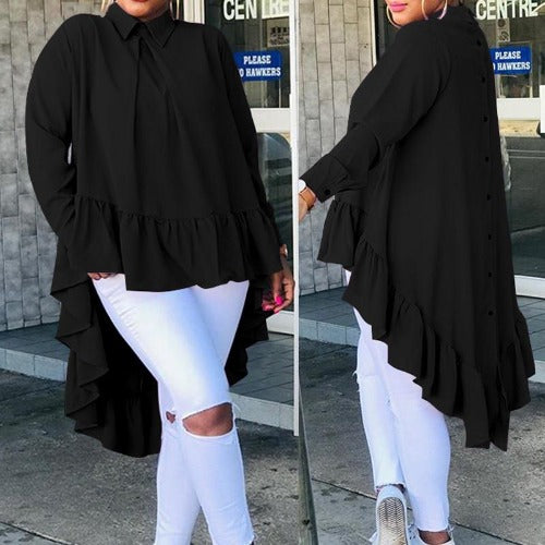 Women Asymmetrical Long Sleeve Blouses - Bkinz Store