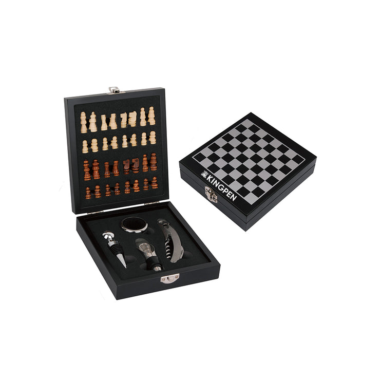 Kingpen Mini Chess Set w/ 4pc Wine Opener Set