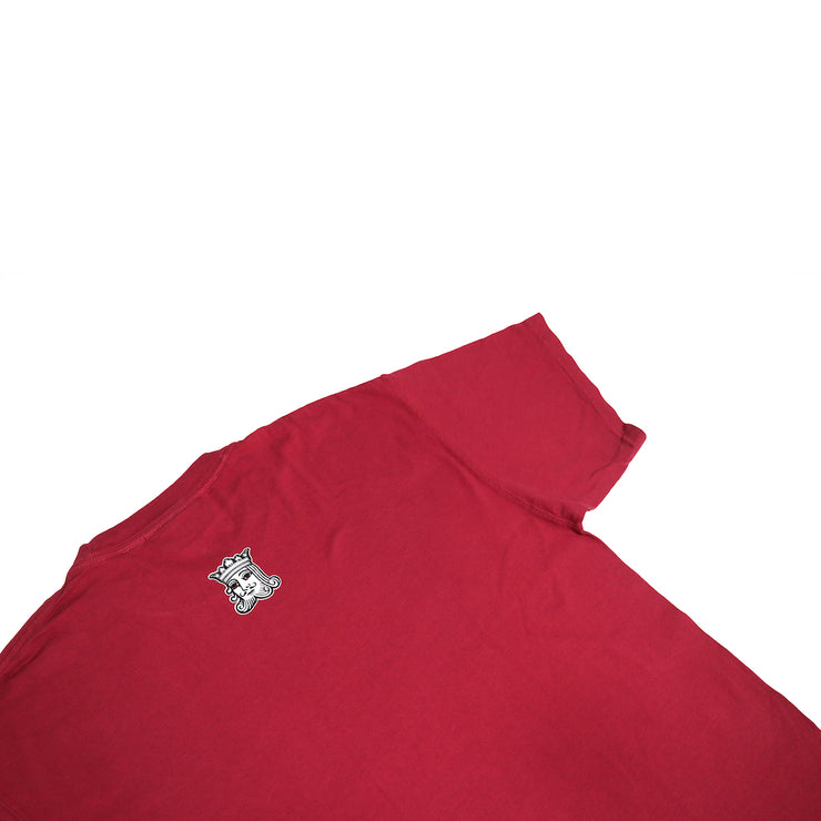 A look at the back of the Kingpen Heritage Collection Est. LA Short Sleeve shirt. The whole shirt is our Kingpen red, and the back has a small King's Head logo centered and near the collar.