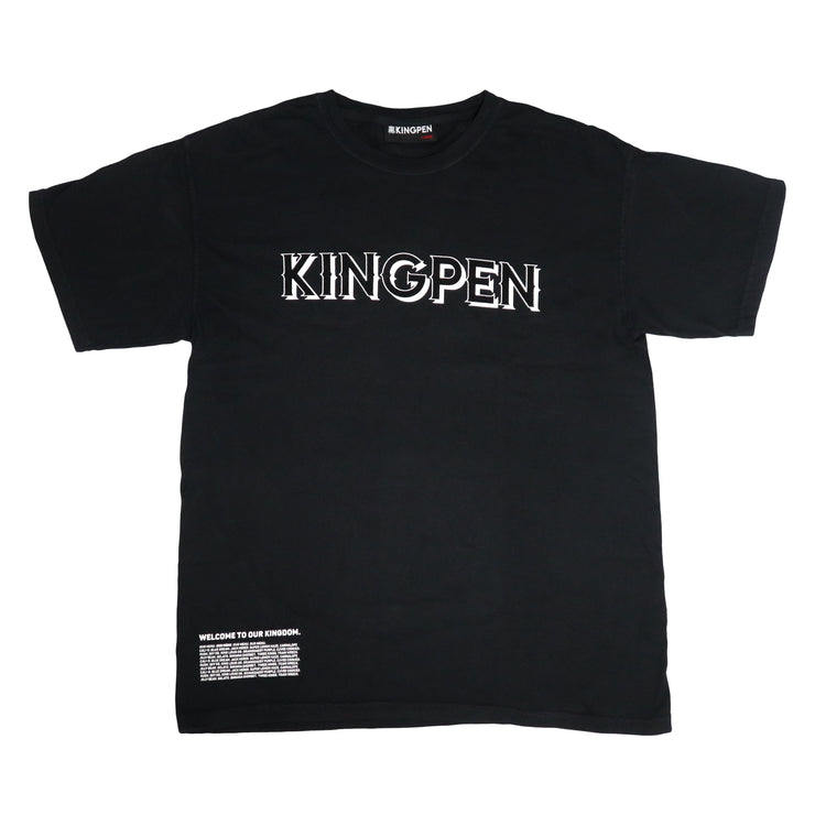 The front of the Kingpen Heritage Collection Our Menu Shirt, featuring 3D Kingpen Wordmark and Full Menu of Strains On Bottom Corner.