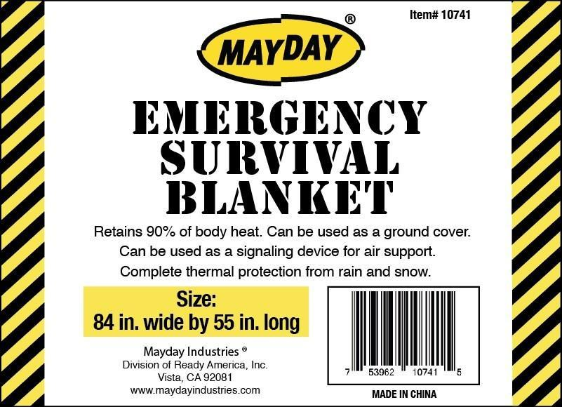 Case of 40 - Large Mayday Solar Blankets - 84 in. x 52 in.