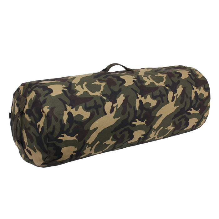 Rothco Canvas Duffle Bag with Side Zipper - Woodland Camo