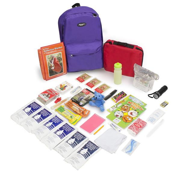 Keep-Me-Safe Children's Survival Kit - Purple Backpack