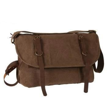 Rothco Vintage Canvas Explorer Shoulder Bag With Leather Accents | Luminary Global