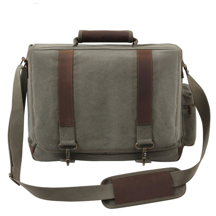 Rothco Vintage Canvas Pathfinder Laptop Bag With Leather Accents | Luminary Global