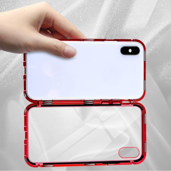 Magnetic Locking Phone Case with Tempered Glass Back,  Shockproof Aluminum Alloy Metal Frame | Locking Phone Case | Magnetic Phone Case