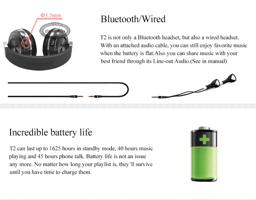 Bluedio T2 Turbine Bluetooth On-Ear Wireless/Wired Headphones with Mic. Rotary Folding  Latest Model | T2 Turbine Bluetooth | Bluedio Bluetooth