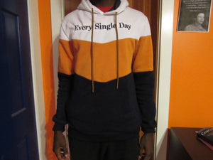Orange White & Blue Hooded Sweatshirt