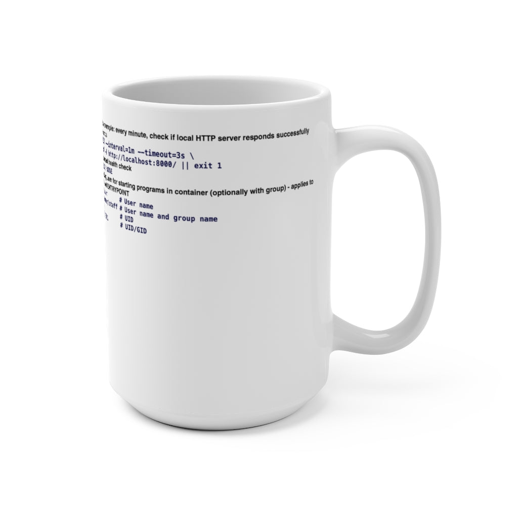 Dockerfile cheat sheet - Mug 15oz - Remember The API