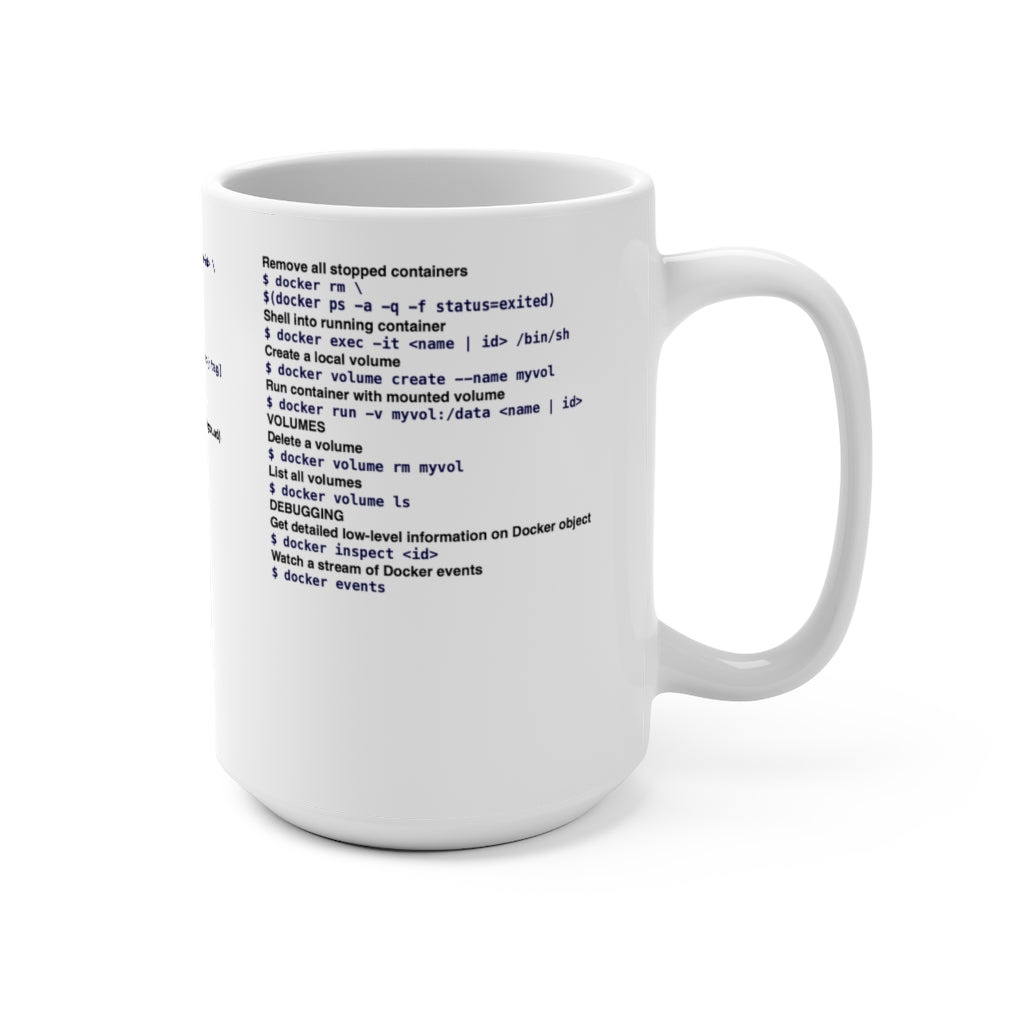 Docker CLI cheat sheet - Mug 15oz - Remember The API