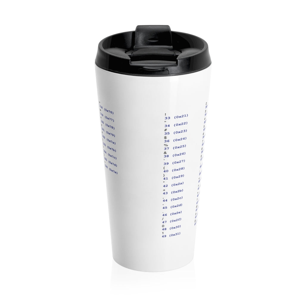 ASCII cheat sheet - Stainless Steel Travel Mug - Remember The API