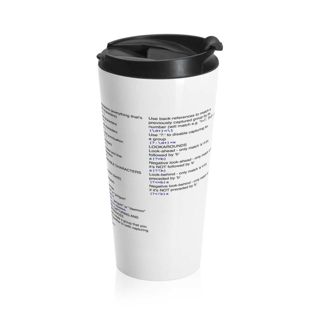 Regex cheat sheet - Stainless Steel Travel Mug - Remember The API