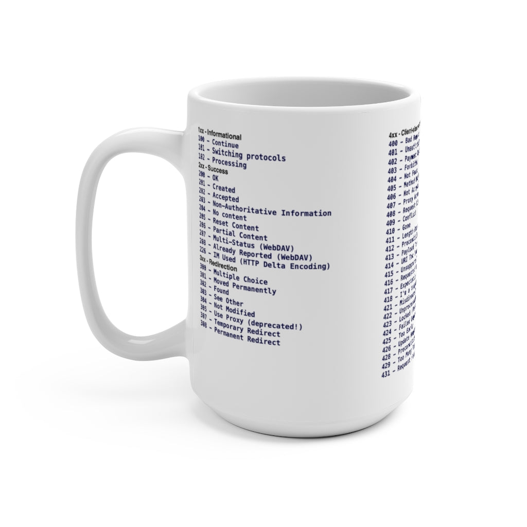 HTTP status code cheat sheet - Mug 15oz - Remember The API