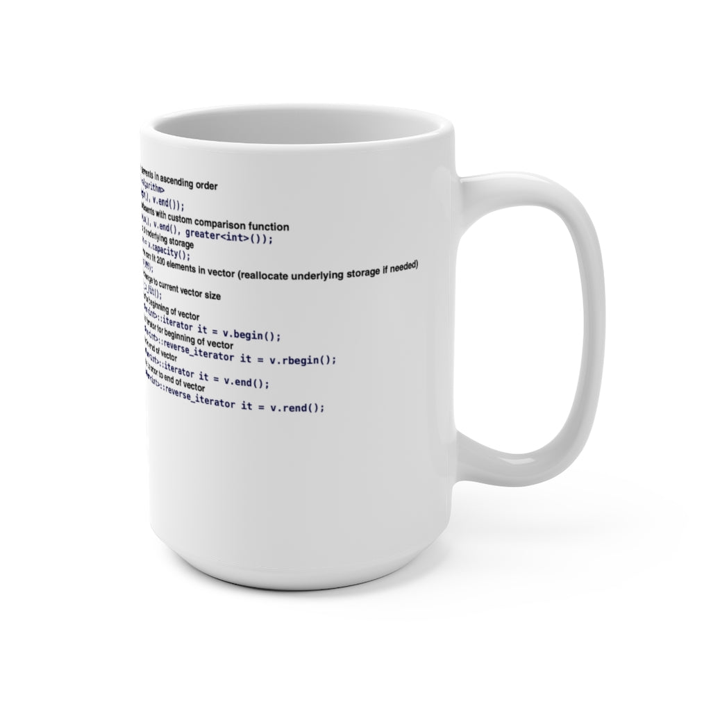 std::vector cheat sheet - Mug 15oz - Remember The API