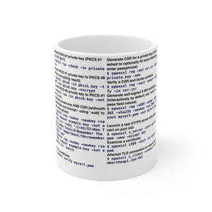 OpenSSL CLI cheat sheet - Mug 11oz - Remember The API