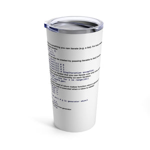 Python generator/iterator/yield cheat sheet - Tumbler 20oz - Remember The API
