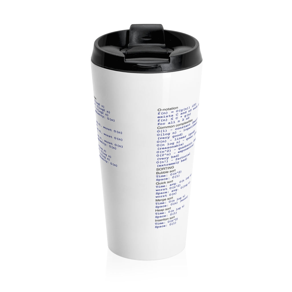 Computational complexity cheat sheet - Stainless Steel Travel Mug - Remember The API