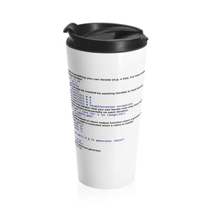 Python generator/iterator/yield cheat sheet - Stainless Steel Travel Mug - Remember The API