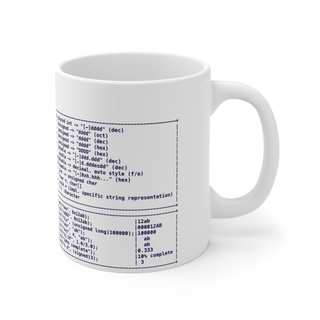 printf format string cheat sheet - Mug 11oz - Remember The API
