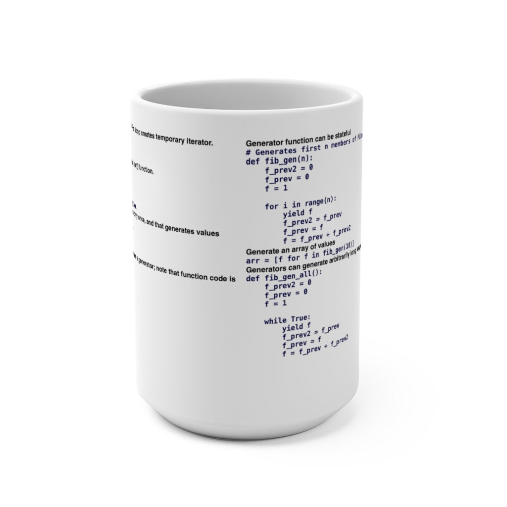 Python generator/iterator/yield cheat sheet - Mug 15oz - Remember The API