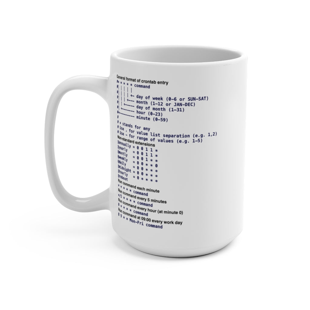 Cron cheat sheet - Mug 15oz - Remember The API