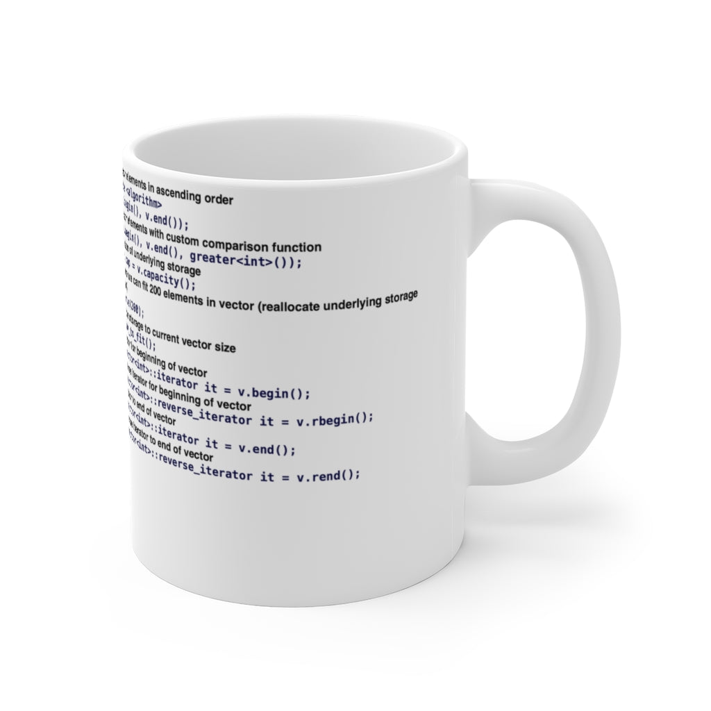 std::vector cheat sheet - Mug 11oz - Remember The API