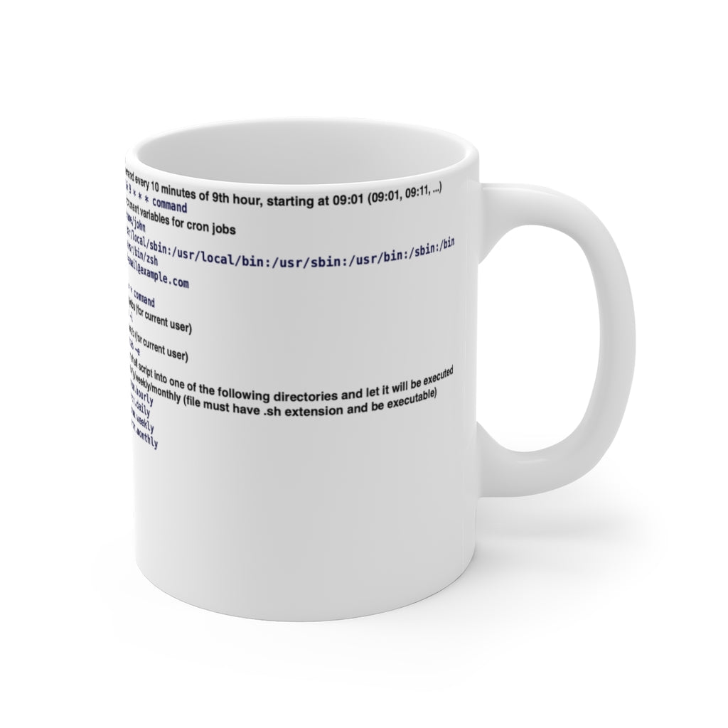 Cron cheat sheet - Mug 11oz - Remember The API